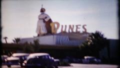 Las Vegas street scene of various Casinos, 578 vintage film home movie Stock Footage