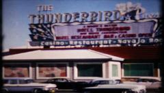 Casinos on the Strip, Las Vegas street scene, 575 vintage film home movie Stock Footage