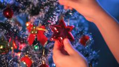 Girl Dresses Up Christmas Tree 15 Stock Footage