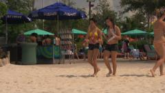 People Walking Around Waterpark Beach Stock Footage