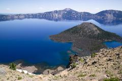 Crater lake national park wizard island west rim caldera Stock Photos
