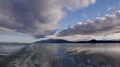 Wake Behind Alaska Marine Highway Ferry in Stephens Passage Stock Footage