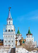 towers and domes of the izmailovo kremlin in moscow - stock photo