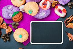 Sweets and candies for halloween Stock Photos