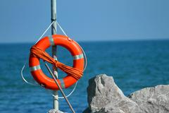 Lifeboat in the sea on a hot summer day Stock Photos