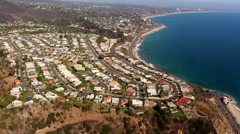 Stock Video Footage of HD Malibu / Pacific Coast Highway Aerial Shot Los Angeles