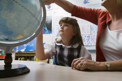 Little Girl Learning Geography Stock Photos