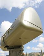 military green camouflage huge radar for reconnaissance of enemy planes 3 - stock photo