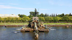 Neptune fountain in petergof park Saint-Petersburg Russia - stock footage