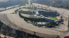 Dodgers Stadium Aerial Shot Los Angeles Stock Footage