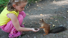 Little girl feeding squirrel with nuts in park Stock Footage
