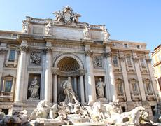 Fountain of trevi in rome center with marble statues Stock Photos