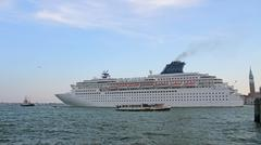 Cruise ship leaves the port of  venice Stock Photos