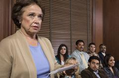 Juror In Jury Box - stock photo