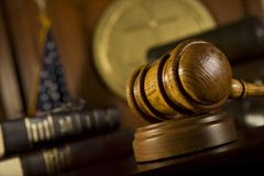 Gavel In Court Room - stock photo