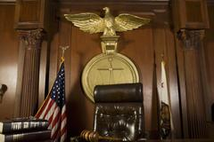 Judge's Chair In Courtroom - stock photo
