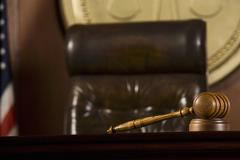 Gavel Lying In Courtroom Stock Photos