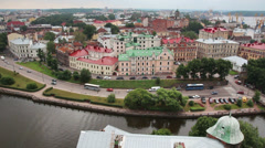 Vyborg in Russia - view from height of medieval tower of St. Olaf - timelapse Stock Footage