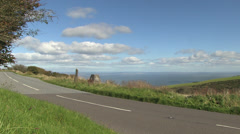 Road in exmoor national park overlooking the bristol channel Stock Footage