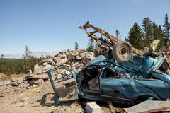 wrecks at the dump - stock photo