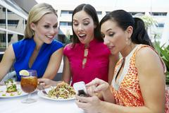 Female Friends reading text message - stock photo