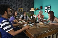 Friends Enjoying Dinner Party - stock photo