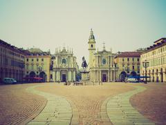 retro look piazza san carlo, turin - stock photo