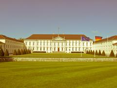 retro looking schloss bellevue, berlin - stock photo