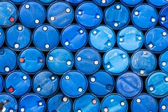 Blue oil barrels Stock Photos