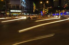 Traffic Light Trails in City Stock Photos