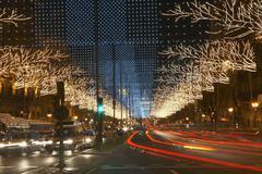 Light Trails On Urban Street - stock photo