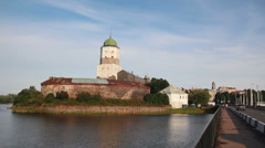 Old sweden castle on island in vyborg russia - timelapse Stock Footage