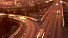Freeway Traffic Time Lapse Sunset Tilt Shift Stock Footage