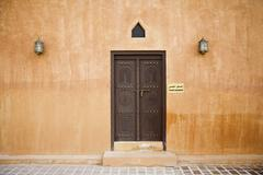 Closed door of Al Ain Palace Museum - stock photo