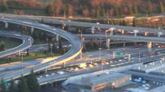 Freeway Traffic Time Lapse Sunset Pan Tilt Shfit Stock Footage