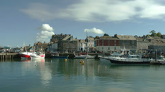 Overview at Padstow harbour, Cornwall, United Kingdom, England Stock Footage