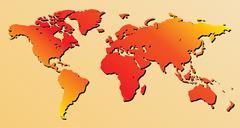 red world map - vector - stock illustration