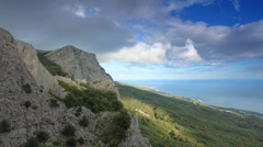 Movement of the clouds on the mountain Merdven-Kayasy. Crimea,  Stock Footage