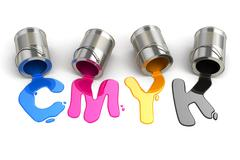 spilled cmyk paint. 3d - stock illustration