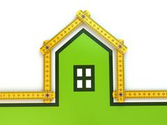 house from yard stick on white background . - stock illustration
