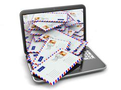 E-mail concept. laptop and letters Stock Illustration