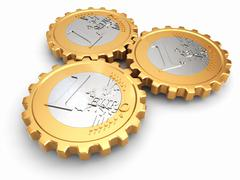 euro coins as gear. financial concept. - stock illustration