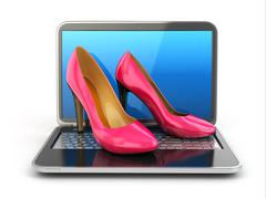 online shopping. high heel shoes on laptop. - stock illustration