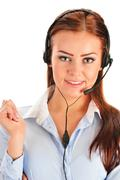 call center operator isolated on white. customer support. helpdesk. - stock photo