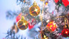 Beautifully Decorated  Christmas Tree and Red Star 21 Stock Footage