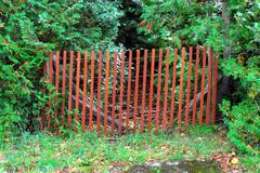 Red fence blocking overgrown green forest path. Stock Photos