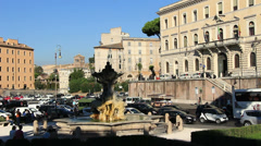 Birds flying around Fountain of the Tritons, Rome Stock Footage