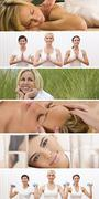 Montage woman healthy spa female lifestyle Stock Photos