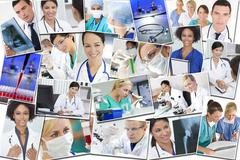 medical montage doctors nurses research & hospital - stock photo