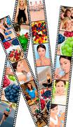 montage healthy women female lifestyle & eating - stock photo